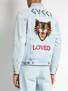 Gucci Loved-embroidered denim jacket - Gucci Jeans - Ideas of Gucci Jeans - Gucci Loved-embroidered denim jacket Denim Jacket Fashion, Denim Jacket Men, Denim Shirt, Denim Men, Men's Denim Jackets, Men's Jackets, Jackets Online, Leather Jackets, Bomber Jacket