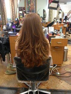 Beautiful long red hair!! full bangs lots of layers by Nina Minardi