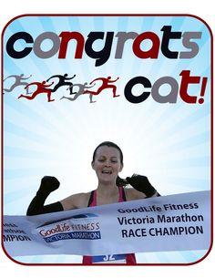 Catrin, my sister, winning one of many marathons:)