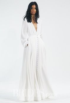 Long-sleeve V-neck floor-length silk wedding dress with Crystals from Swarovski buttons, Houghton