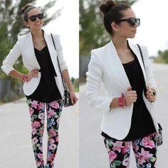 Floral pants, neutral top and boyfriend blazer
