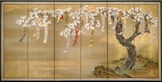 [Flowering Cherry and Autumn Maples with Poem Slips, approx. 1654/81. By Tosa Mitsuoki (approx. 1617-1691). Pair of six-panel screens; ink, color, gold, and silver on silk.