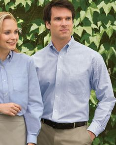 Van Heusen Men's Long-Sleeve Wrinkle-Resistant Oxford. 60% cotton, 40% polyester fabric. Wrinkle-resistant and stain-repellent. Soft button-down collar. Reinforced left-chest pocket. Two-button adjustable cuffs; replacement buttons. Generous fit. Box pleat on back. Colors: BLUE STRIPE / CAYENNE / DARK GREEN / DARK GREY / ENGLISH BLUE / GREEN STRIPE / KHAKI / KHAKI STRIPE / LIGHT BLUE / NAVY / WHITE / YELLOW Sizes: S - 3XL $30 range