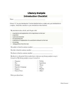 introduction checklist for literary analysis essays from educator  introduction checklist for literary analysis essays from educator helper on hashtags