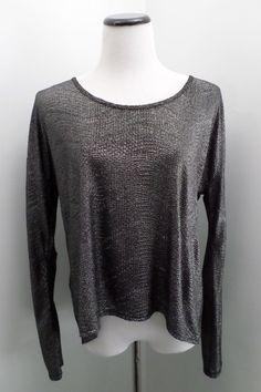 BCBG Silver Long-Sleeve Blouse Open Back Size S #BCBG #Blouse #Clubwear