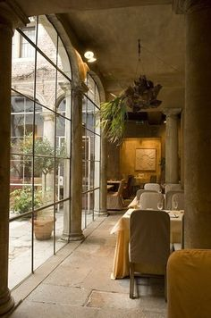 arched windows and stone walls