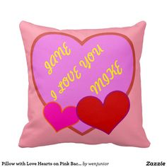 Pillow with Love Hearts on Pink Background