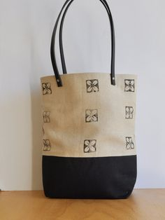 Tropical Eco-Printed Linen & Black Eco Linen, Classic, Best Selling/Trending, Small Tote, Shoulder Bag by SmallWorldDreams on Etsy