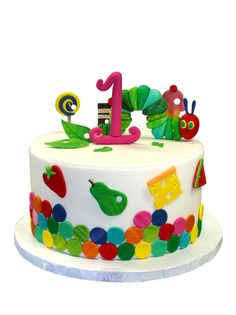 The Very Hungry Caterpillar  COMPLETE set of fondant cake and or matching cupcake toppers. $37.00, via Etsy.