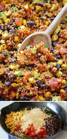 One Pan Mexican Quinoa - Wonderfully light, healthy and nutritious. And it is so easy to make - even the quinoa is cooked right in the pan! from Damn Delicious Mexican Food Recipes, Whole Food Recipes, Vegetarian Recipes, Dinner Recipes, Cooking Recipes, Healthy Recipes, Vegetarian Dinners, Red Quinoa Recipes, Quinoa Food