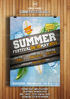 Summer poster on poster layout || GraphicRiver Summer Festival Flyer Vol.1 4995250 #boards #surfing