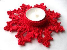 Set of 2 crochet Snowflake tea light candle door YellowSherbet