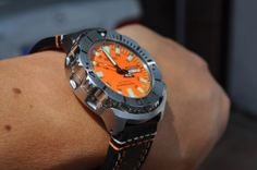 """Old style Seiko Orange """"Monster"""" on aftermarket strap Seiko Monster, Seiko Watches, Omega Watch, Orange, Clothes, Accessories, Style, Sport Watches, Boots"""