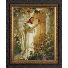Christ at Heart's Door w/ Dark Ornate Frame This image of Christ at Heart's Door by Sallman comes in an ornate dark wood frame and is available in . Catholic Art, Religious Art, Catholic Store, Religious Gifts, Jesus Knocking On Door, Thought Pictures, Framed Art, Framed Prints, Images Of Christ