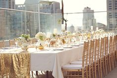 Table Setting, Wedding Decor, Gold Inspiration, Rooftop View, Reception, Flowers