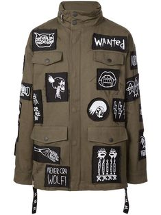 Haculla Patch Military Jacket In Green Military Fashion, Mens Fashion, Fashion Outfits, Military Style, Battle Jacket, Aviator Jackets, Urban Looks, Green Cotton, Grunge Fashion