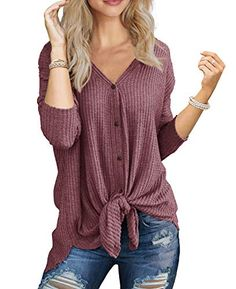 online shopping for Imily Bela Womens Waffle Knit Tunic Blouse Tie Knot Henley Tops Bat Wing Plain Shirts from top store. See new offer for Imily Bela Womens Waffle Knit Tunic Blouse Tie Knot Henley Tops Bat Wing Plain Shirts Women's Henley, Henley Shirts, Tie Blouse, Shirt Blouses, Women's Shirts, Button Shirts, Loose Shirts, Blouson Rose, Long Sleeve Tops