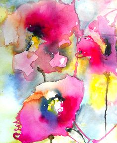 "Saatchi Online Artist: Karin Johannesson; Ink 2013 Painting ""Pink Poppies V"""