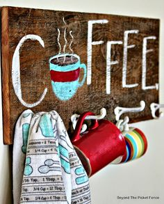 reclaimed wood, coffee, sign, cup hook, hand painted sign, Beyond The Picket Fence,http://bec4-beyondthepicketfence.blogspot.com/2015/02/coffee-culture.html