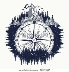 Mountain wind rose compass tattoo art. Adventure, travel, outdoors, meditation symbol.