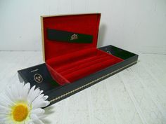 Vintage Black Leatherette Jewelry Box Gold Metal by DivineOrders