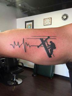 Lineman Wife, Power Lineman, Lineman Shirts, Get A Tattoo, Back Tattoo, Lineman Tattoo, Deer Skull Art, Army Tattoos, Small Tattoos For Guys