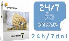 Automatyczna wysyłka kodów w naszym sklepie: 24/7. www.polpress.pl/sklep - najlepszy program do faktur w najlepszej cenie!