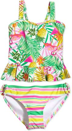 Seafolly Tropical-Print Two-Piece Tankini Swimsuit, Multicolor, Size 6-16