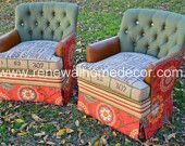 "Custom Order - Vintage Upholstered Swivel Club Chairs - "" Bobbi's Custom Swivel Chairs"" - SOLD - Price per chair"