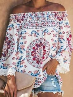 Off Shoulder Shirt, Shoulder Sleeve, Lace Print, Loose Tops, Spandex, Street Style, Casual T Shirts, Types Of Sleeves, Plus Size Outfits