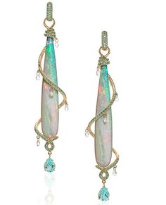 """Wow...love these Erica Courtney earrings. 18K yellow gold """"Milky Way"""" earrings featuring Opal drops (46.06 ctw.) accented with Diamonds (1.98 ctw.) and Paraiba Tourmalines (2.03 ctw.). #jewelrystateofmind #lovegold #luxury#luxurybyjck #jewelry #jewelrydesign#jewels #diamond #diamonds #custom#love #stunning #beautiful #color #finejewelry #highendjewels #losangeles #gemstones #blingbling #wow #diamondjewelry #instajewels #diamondsareagirlsbestfriends #opal #paraiba"""