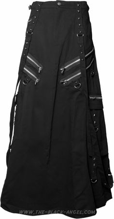 Gothic men's skirt by Queen of Darkness, with straps and metal hardware details.