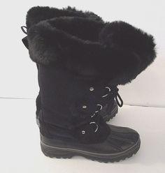 Khmobu Winter Boots Women's Size 6 Black Suede Leather model 655536 #Khombu #SnowWinterBoots