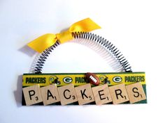 Green Bay Packers Football Scrabble Tile Ornaments | Etsy Scrabble Letter Crafts, Scrabble Ornaments, Scrabble Tiles, Packers Football, D Craft, Christmas Crafts, Christmas Ideas, Green Bay Packers, Projects To Try