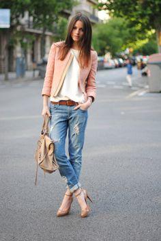 boyfriends, nude pumps, pink blazer...