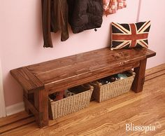 Farmhouse Bench Handmade via Etsy $195 - would look nice with my table at the cabin!