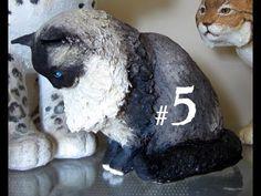 Как сделать бумаги маше Кот, Урок # 5 - ног, уши и хвост   Окончательный папье-маше