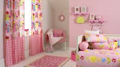 Exciting Idea Of Girl Bedroom With Cute Pink Shelves On Nice Pink Wall Added By Beautiful Florals Pink Curtains On Metal Hook, Fascinating Pictures Of Kids Bedrooms Sweeten Your Daughter Bedroom: Kids Room Pink Bedroom Curtains, Girls Bedroom Wallpaper, Kids Room Curtains, Of Wallpaper, Kids Bedroom, Bedroom Decor, Bedroom Ideas, Gingham Curtains, Wallpaper Ideas