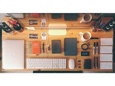 My desk at my home office. Usually not so neatly laid out.