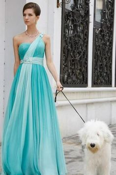 Just taking the dog for a walk... Beautiful Tiffany Blue Dress <3
