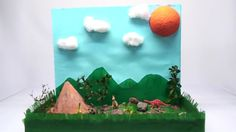 How to Make a Diorama. Building a diorama is a fun DIY project in which you can create an exciting scene in a small space. Dioramas allow a lot of room for creativity and innovation. Though dioramas usually display a historical time. Cool Diy Projects, Diy Crafts For Kids, Projects For Kids, Art For Kids, Dinosaur Diorama, Diorama Kids, Shoe Box Diorama, Dinosaur Projects, Dinosaur Crafts