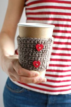 Coffee cozy  Brown with red heart buttons  by thecozyproject, $16.00