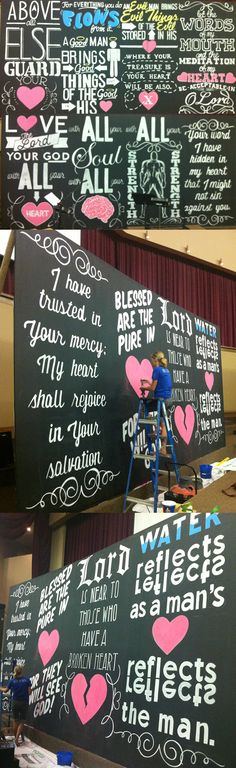This is the all chalk and all hand rendered backdrop for Crossroads Church that Kristen Vails and I created. It is 72 feet long and 12 feet tall. Photos aren't the best quality...