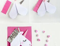 tuto pour réaliser un marque-page origami en forme de tête de licorne, activité manuelle amusante avec papier