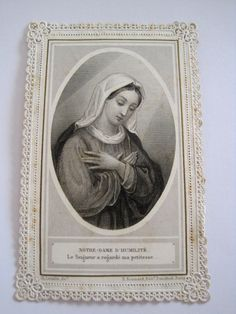 Antique French Lace Holy Card or Canivet Notre-Dame D'Humilité PL 526 By by VintageFrenchFinds, $15.00
