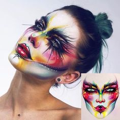 Carnaval Drag Makeup, Goth Makeup, Clown Makeup, Sfx Makeup, Airbrush Makeup, Costume Makeup, Makeup Art, Makeup Face Charts, Creative Makeup Looks