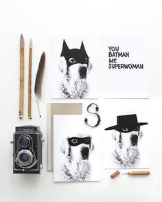 4 x Postcard Super Hero   My Deer Art Shop