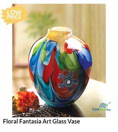Floral Fantasia Art Glass Vase for more details visit http://coolsocialads.com/floral-fantasia-art-glass-vase-50371