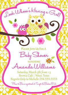 Owl Baby Shower Invitation by HelloLoveBoutique on Etsy, $15.00