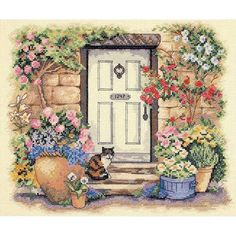Garden Door Kitty Counted Cross Stitch